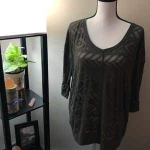 Lane Bryant Brown 3/4 Sleeve Shirt
